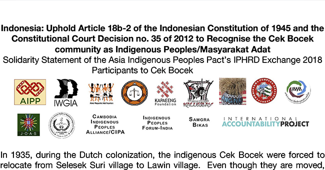 Solidarity statement for the recognition of the Cek Bocek community's rights