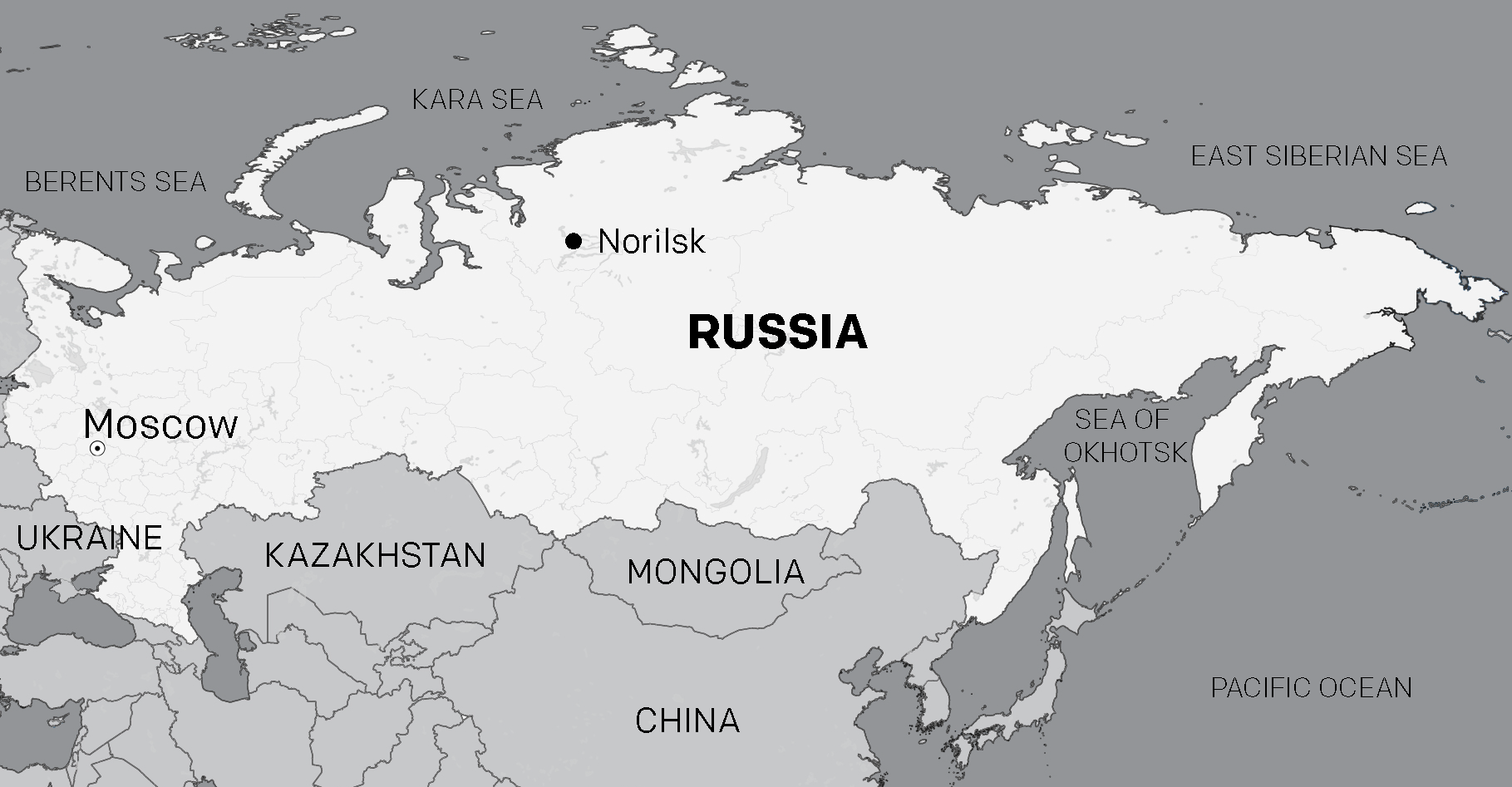 Map of Russia, with Norilsk marked - produced by IWGIA